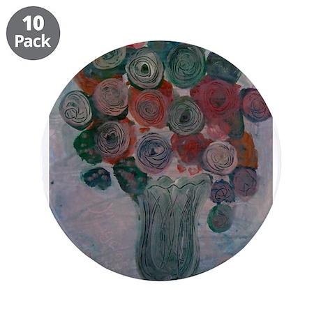 """Jade Green Pastel Mums Flower 3.5"""" Button (10 pack"""