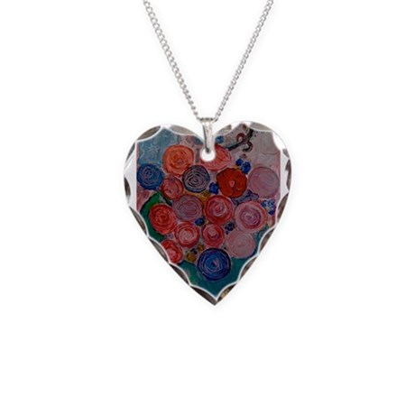 Matisse Bowl of Red Blue Rose Necklace Heart Charm