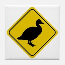 Duck Crossing Sign Tile Coaster