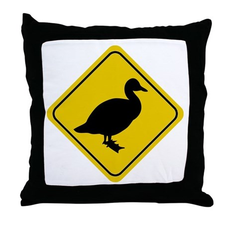 Duck Crossing Sign Throw Pillow