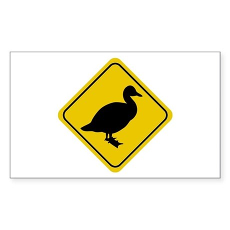 Duck Crossing Sign Rectangle Sticker
