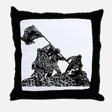 Raising The American Flag Throw Pillow
