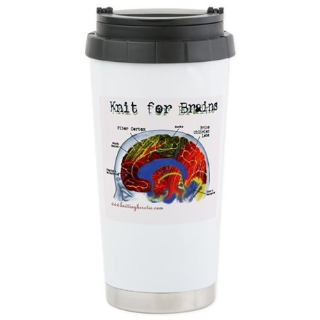 Knit For Brains Stainless Steel Travel Mug