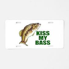 Kiss My Bass Aluminum License Plate