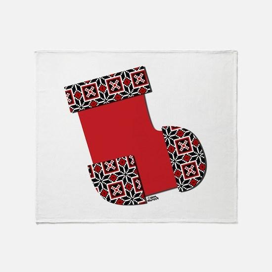 Xmas Stocking Red Throw Blanket