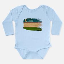 Uzbekistan Flag Long Sleeve Infant Bodysuit