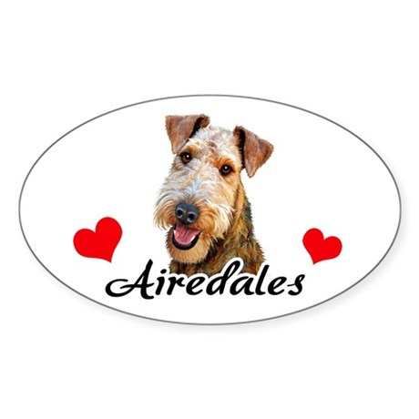 Love Airedales Sticker (Oval)