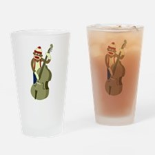 Sock Monkey Bass Player Drinking Glass