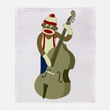 Sock Monkey Bass Player Throw Blanket