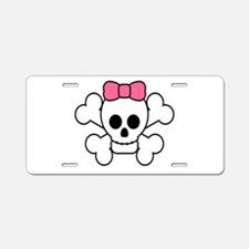 Girly Skull Aluminum License Plate