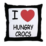 I heart hungry crocs Throw Pillow