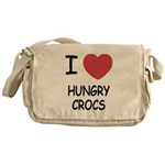 I heart hungry crocs Messenger Bag