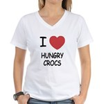 I heart hungry crocs Women's V-Neck T-Shirt