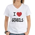 I heart gerbils Women's V-Neck T-Shirt