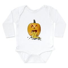 Pumpkin throwing up seeds Long Sleeve Infant Bodys