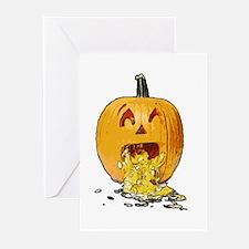 Pumpkin throwing up seeds Greeting Cards (Pk of 10