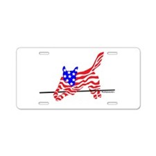 Agility Flag Dog Aluminum License Plate