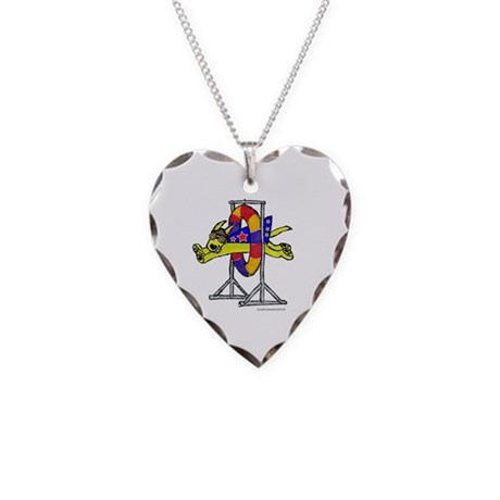 Super Doggie Jump Necklace Heart Charm
