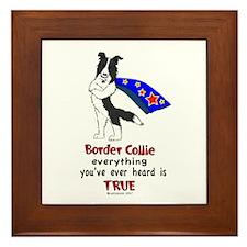 Super Border Collie- black Framed Tile