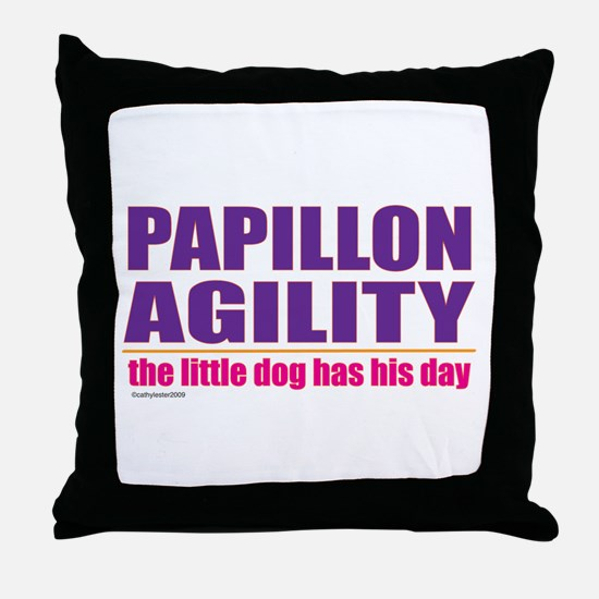 Papillon Agility Throw Pillow