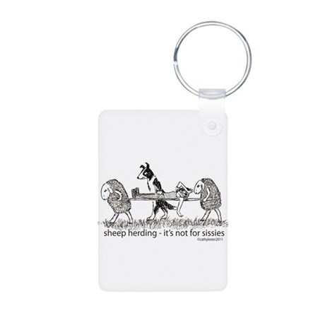 Sheep Herding Aluminum Photo Keychain