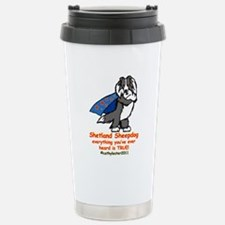 Black Super Sheltie Stainless Steel Travel Mug