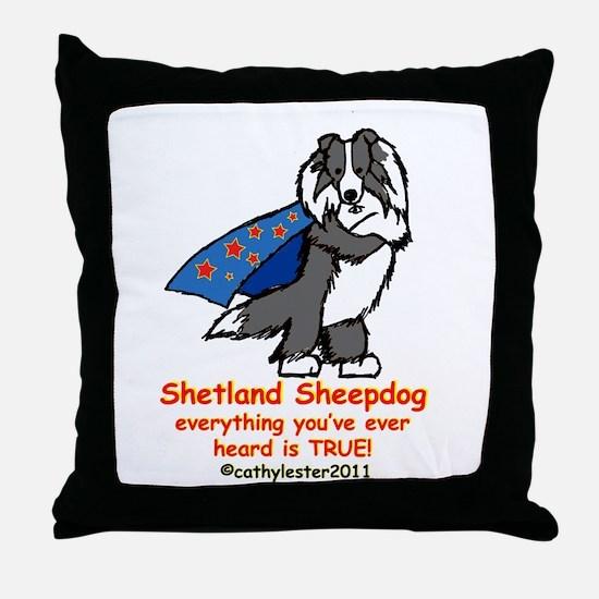 Black Super Sheltie Throw Pillow