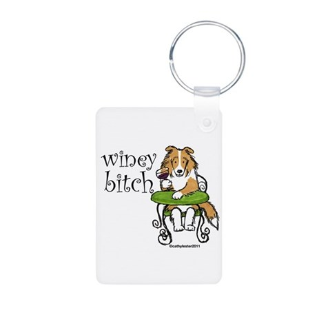 Winey Bitch Sheltie Aluminum Photo Keychain