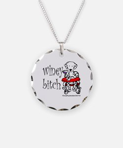 Winey Dalmatian Necklace Circle Charm