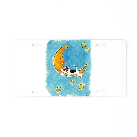 Wire Fox Terrier/Moon Aluminum License Plate