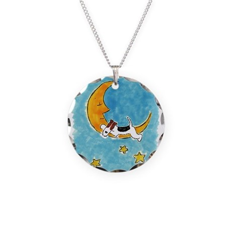Wire Fox Terrier/Moon Necklace Circle Charm