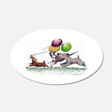 Dog Balloon Party 22x14 Oval Wall Peel
