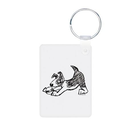 Dog Playing With Ball Aluminum Photo Keychain