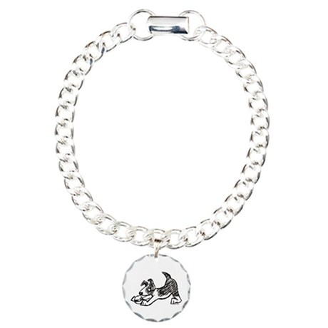 Dog Playing With Ball Charm Bracelet, One Charm