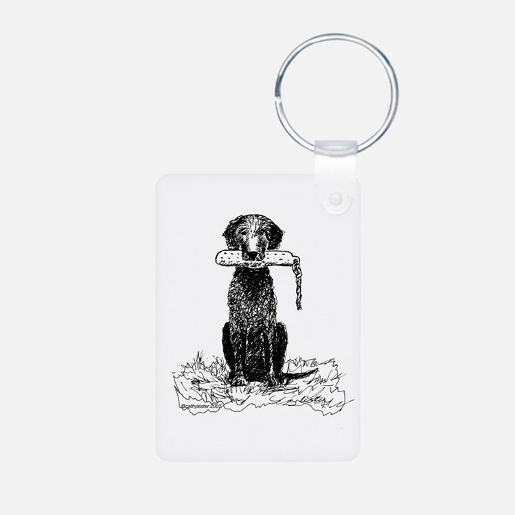 Curly-Coated Retriever with B Keychains