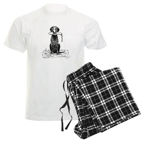 Curly-Coated Retriever with B Men's Light Pajamas