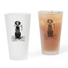 Curly-Coated Retriever with B Drinking Glass