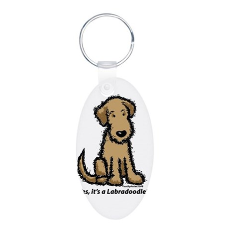 Labradoodle puppy Aluminum Oval Keychain
