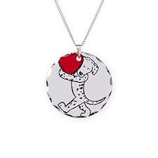 Dalmatian Heart Necklace Circle Charm