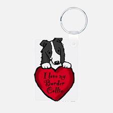 Border Collie (black) Love Keychains