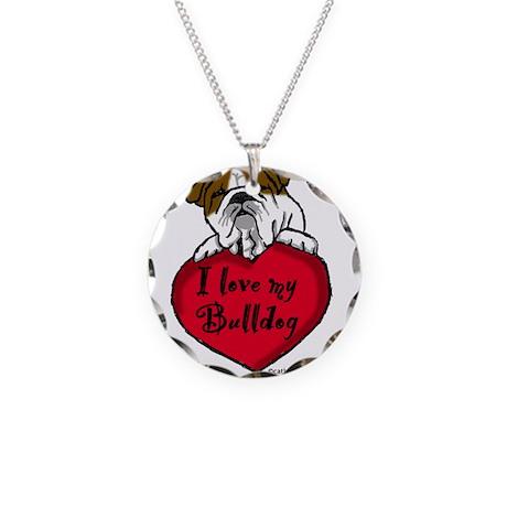 I Love My Bulldog Necklace Circle Charm