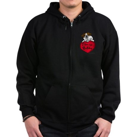 I Love My Bulldog Zip Hoodie (dark)