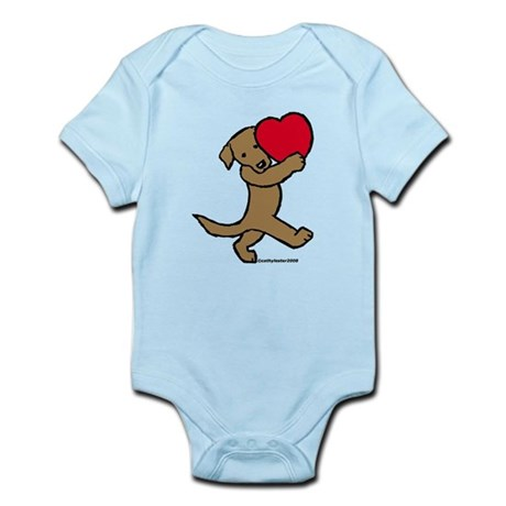 Lab (Chocolate) Heart Infant Bodysuit