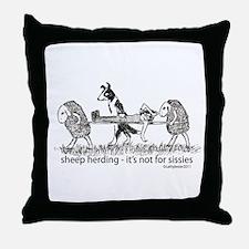 Sheep Herding Sissies Throw Pillow