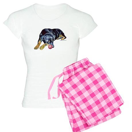 Rottweiller with Ball Women's Light Pajamas