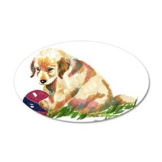 Golden retriever puppy with b 22x14 Oval Wall Peel