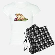 Golden retriever puppy with b Pajamas