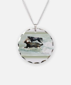Border Collies Running Necklace