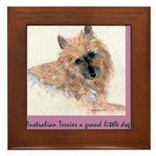 Red Australian Terrier FACE Framed Tile