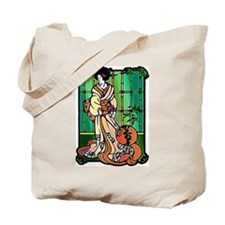 Geisha with Lantern Tote Bag